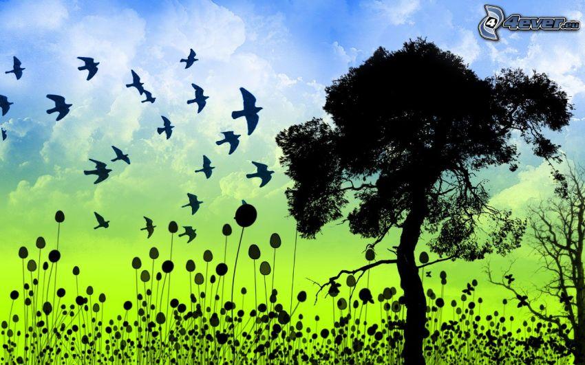 siluetta d'albero, stormo di uccelli, piante