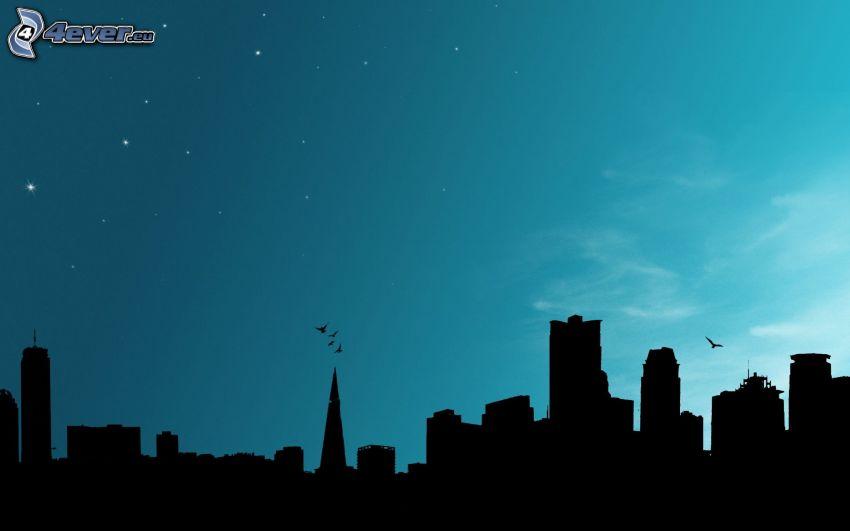 siluetta di cittá, cielo di sera