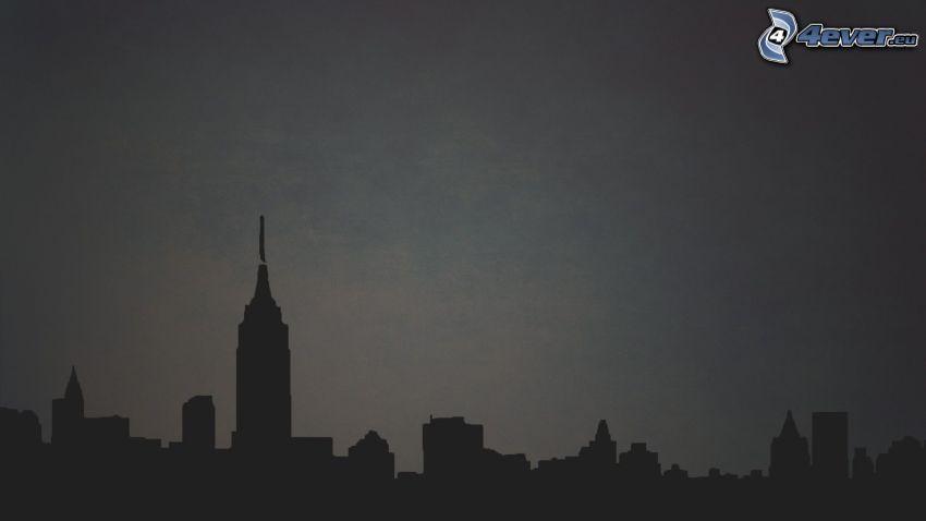 siluetta di cittá, New York, Empire State Building