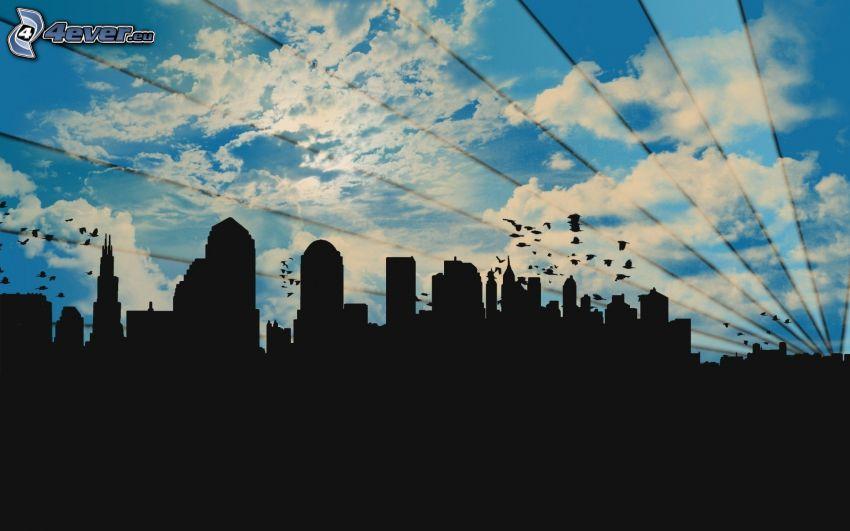 siluetta di cittá, righe, nuvole