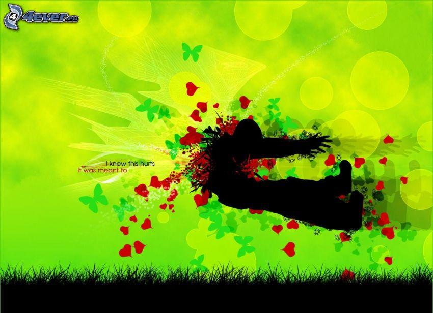 siluetta di un ragazzo, cuori, farfalle, fucileria