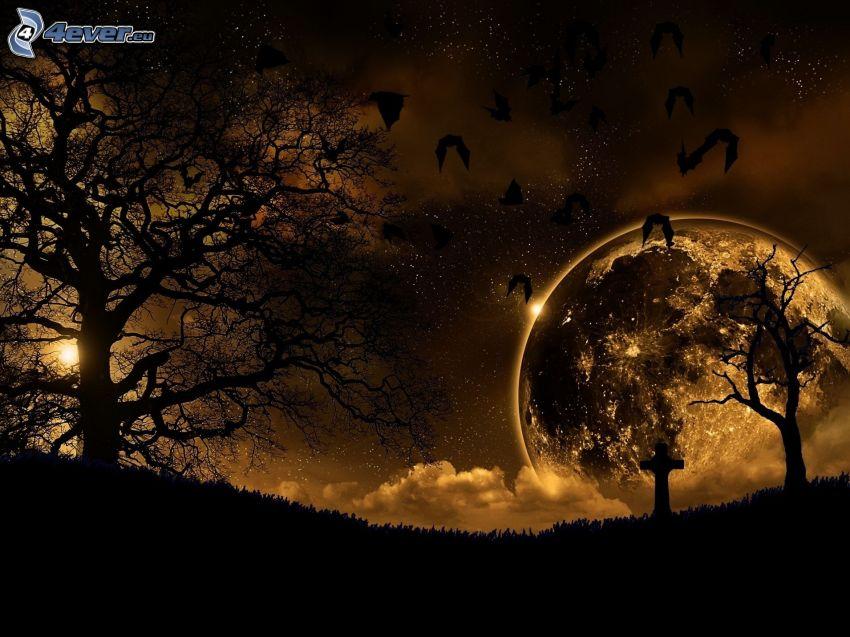 siluette di alberi, pipistrelli, luna, croce