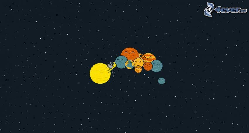 sistema solare, pianeti, fotocamera, cielo stellato