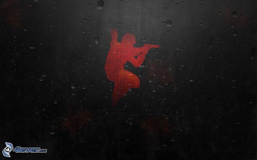 soldato con una arma, silhouette, gocce d'acqua