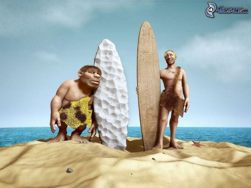 surfers sulla spiaggia, personaggi dei cartoni animati, spiaggia sabbiosa, mare