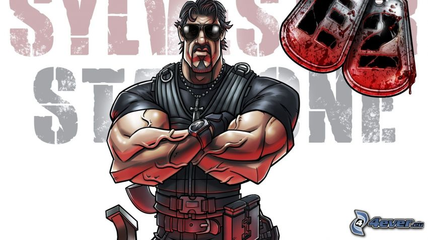 The Expendables 2, Sylvester Stallone, caricatura