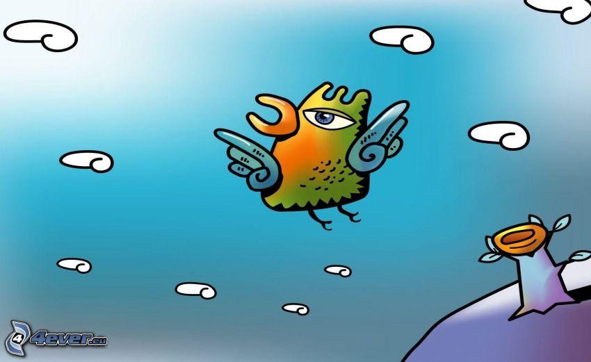 uccello cartone animato