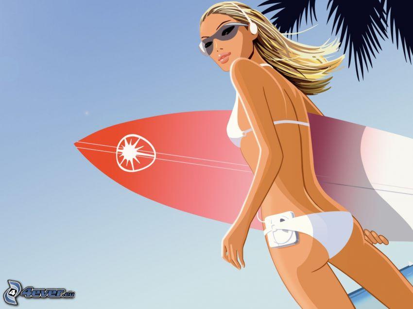 una surfista, donna animata, costume da bagno bianco, ragazza con le cuffie
