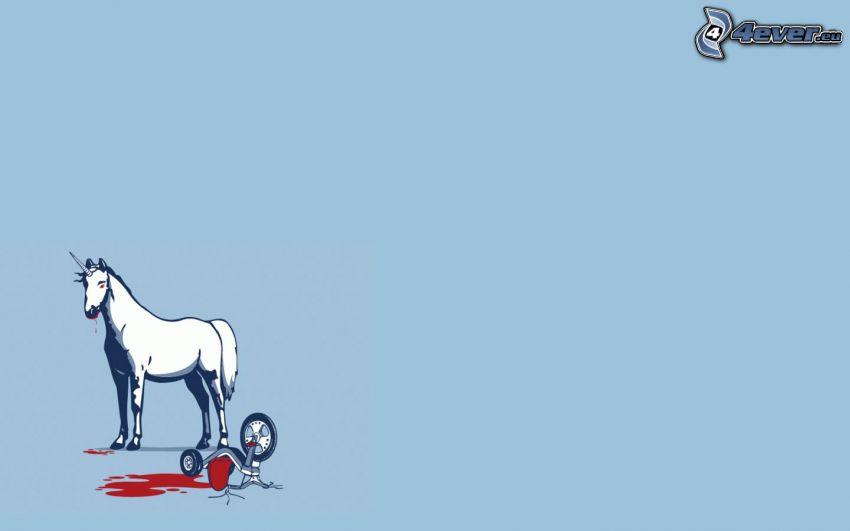 unicorno, bicicletta