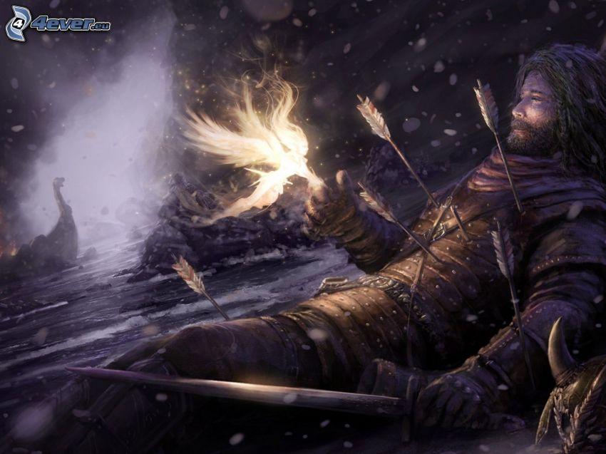 uomo, frecce, dopo la lotta