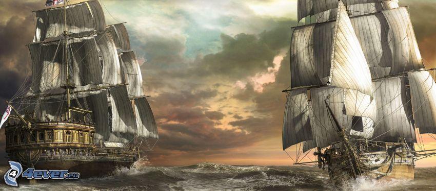 vele, barca a vela disegnata