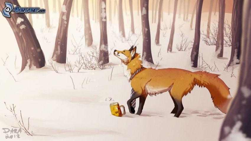 volpe disegnata, foresta, neve, birra