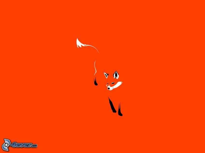 volpe disegnata, sfondo arancione