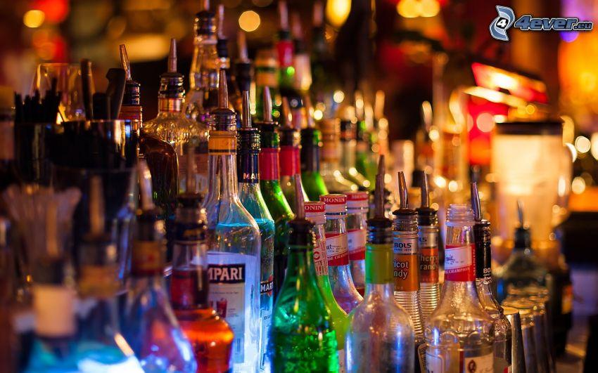 alcool, bottiglie