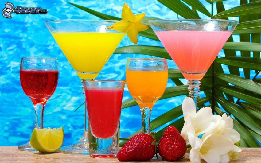 bevande, bicchieri, fragole, fiori, limone