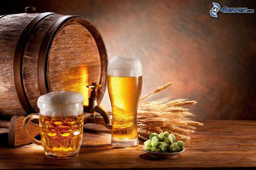 bicchieri di birra, botte, grano