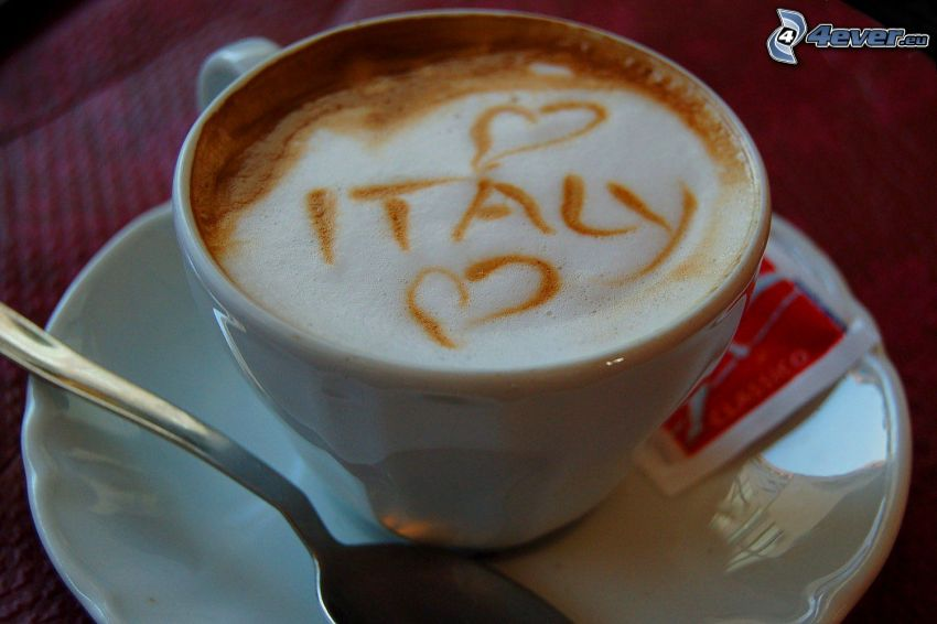 cappuccino, Italia, schiuma, cucchiaio