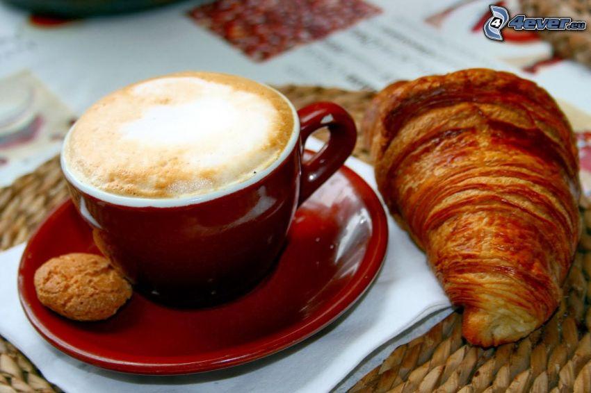 cappuccino, schiuma, croissant