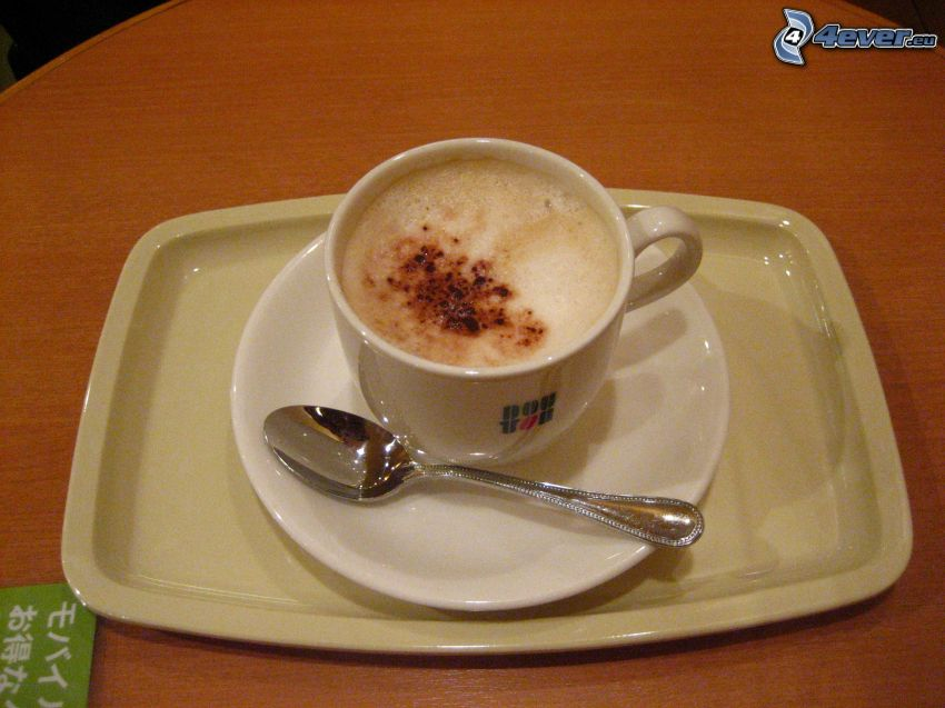 cappuccino, schiuma, cucchiaio