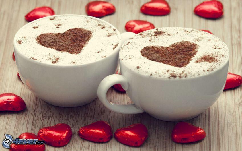 cappuccino, schiuma, cuori, caramelle