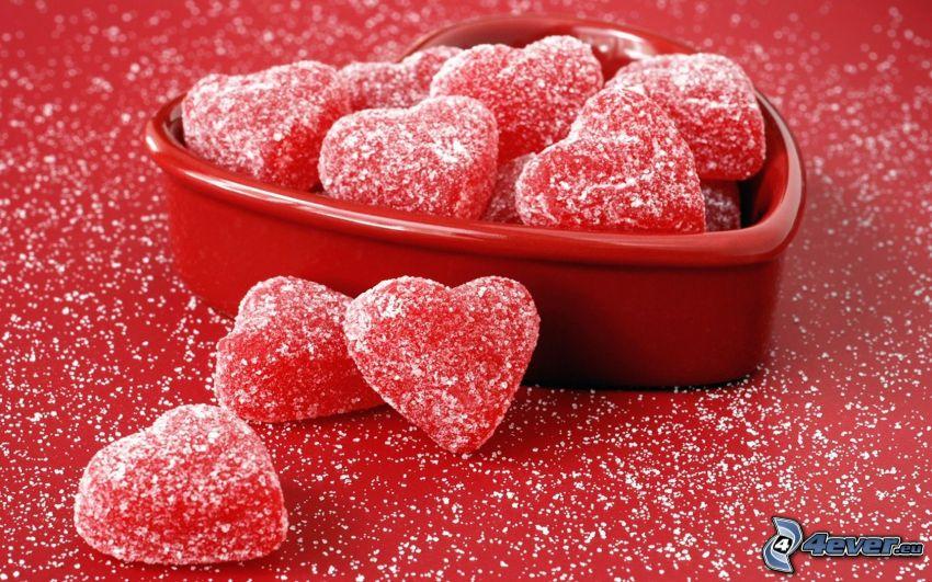 caramelle, cuori rossi