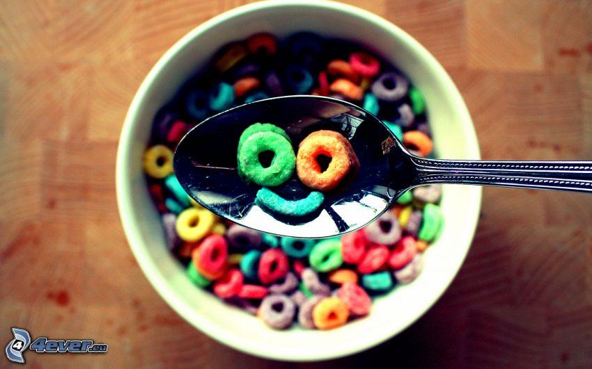 caramelle, fiocchi di cereali