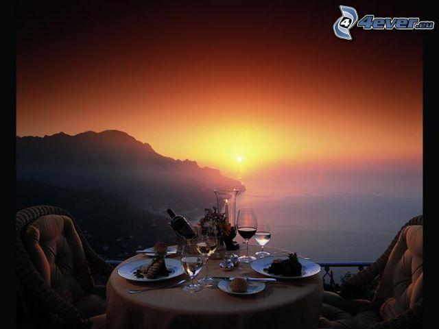 cena, romanticismo, Tramonto sul mare