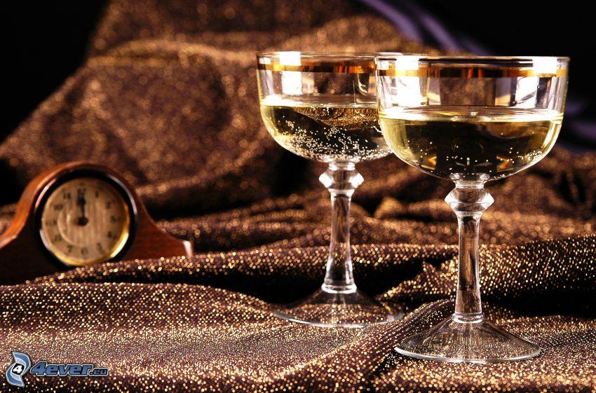 champagne, bicchieri, orologio