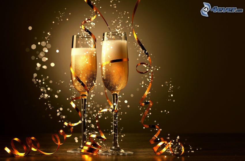 champagne, cerchi, nastro