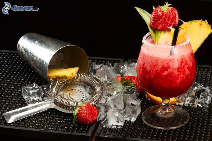 cocktail, fragole, cubi di ghiaccio, ananas