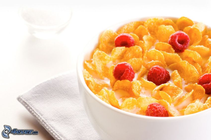 colazione, corn flakes, Lamponi