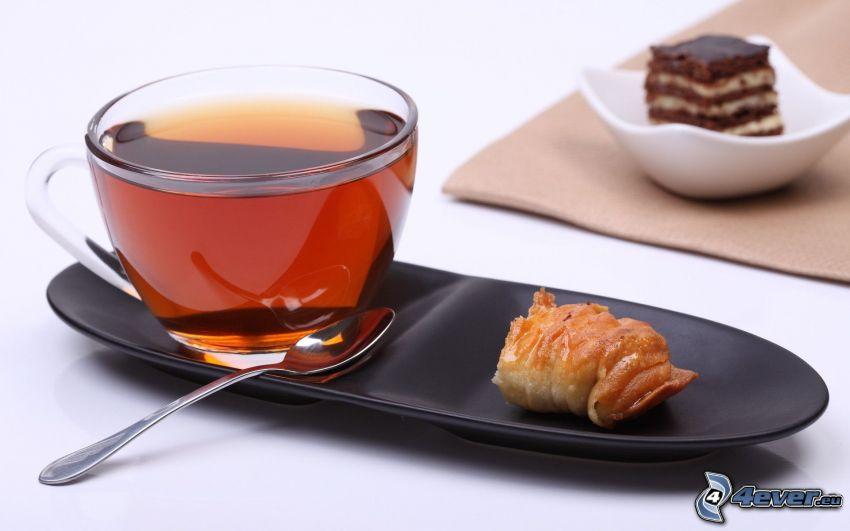 colazione, tazza di tè, dolce