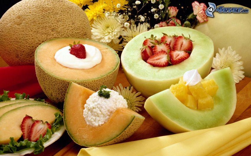 frutta, melone giallo, fragole