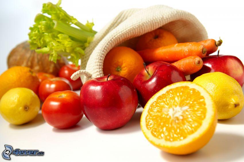 frutta, verdura, limoni, mele