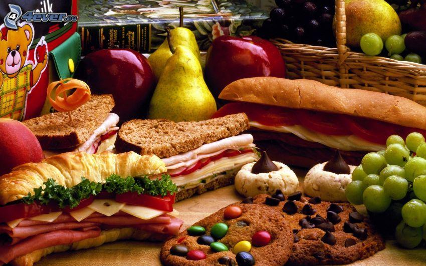 hamburger, baguettes, dolci, frutta