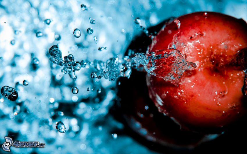 mela, acqua