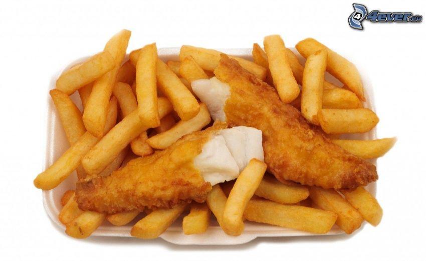 patate fritte, carne