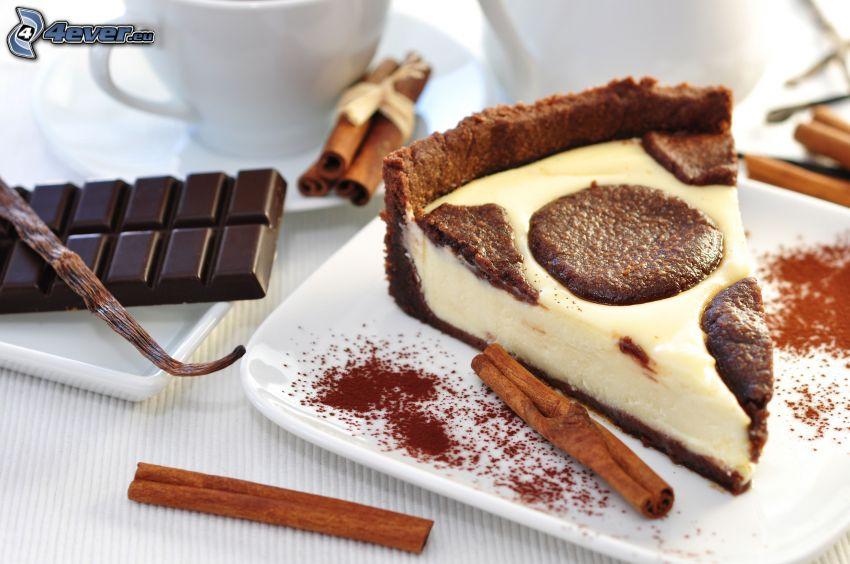 pezzo di torta, cannella, cioccolato