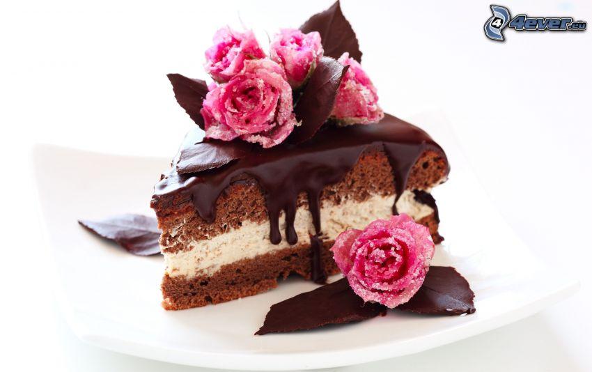 pezzo di torta, cioccolato, rose, marzapane, dolce