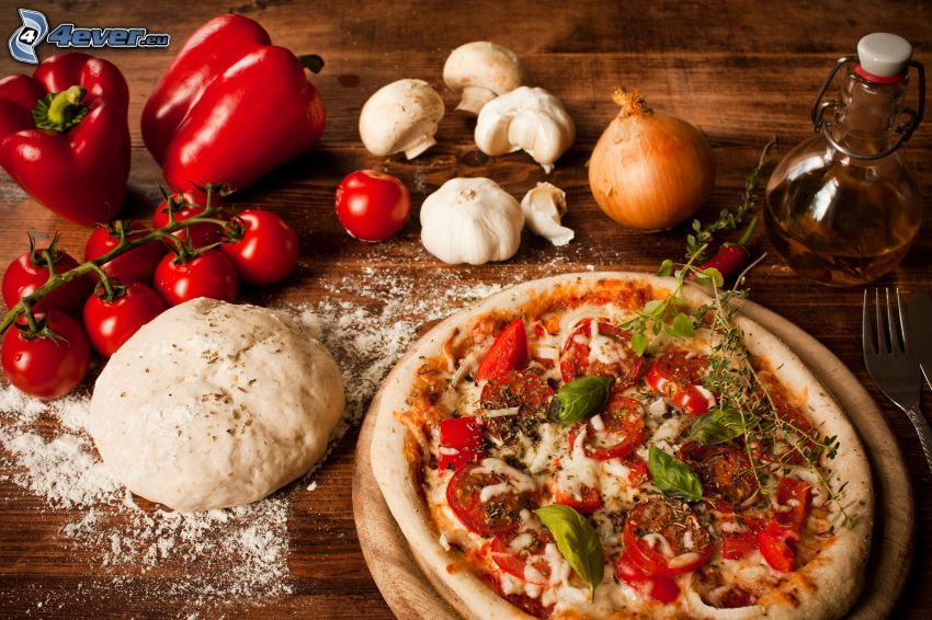 pizza, verdura, impasto