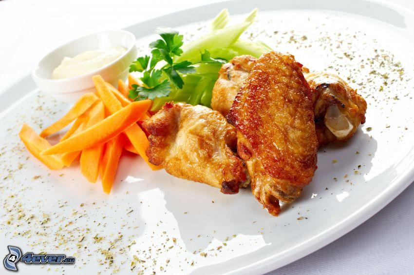 pollo, patate fritte