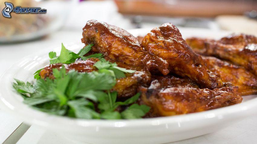 pollo al forno, insalata