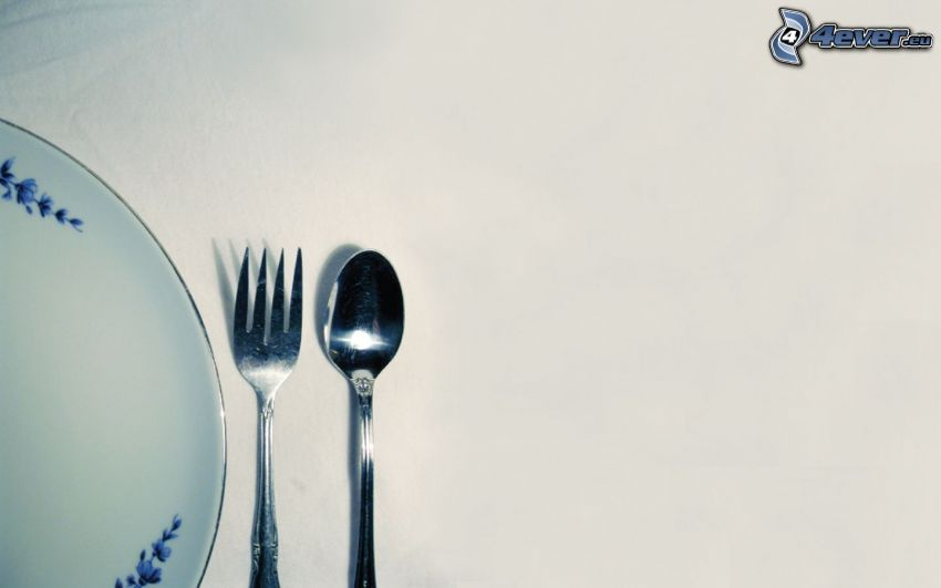 posata, forchetta, cucchiaio, piatto