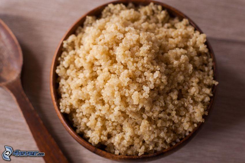 Quinoa, ciotola, cucchiaio
