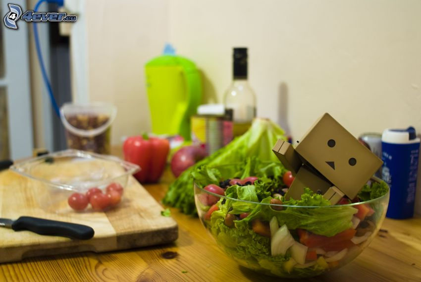robot di carta, insalata, cucina