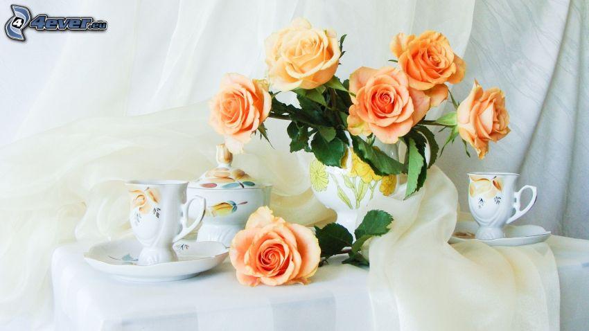 rosa arancione, tazze, teiera