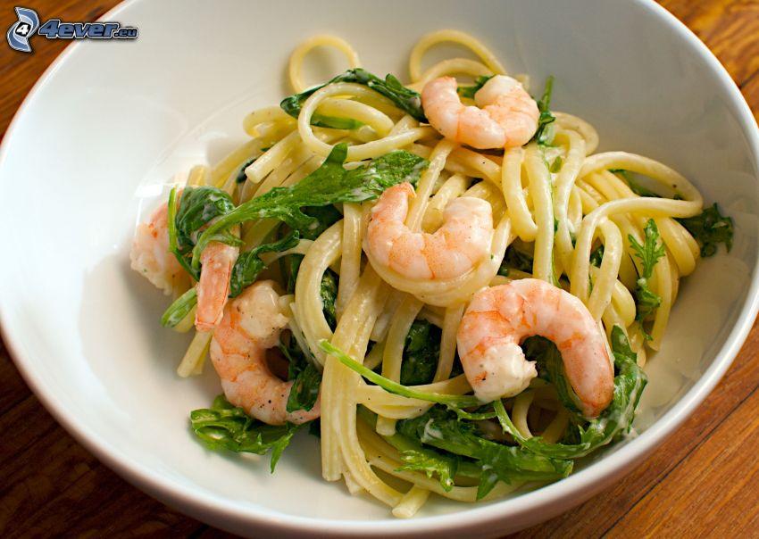 spaghetti, Gamberetto, rucola
