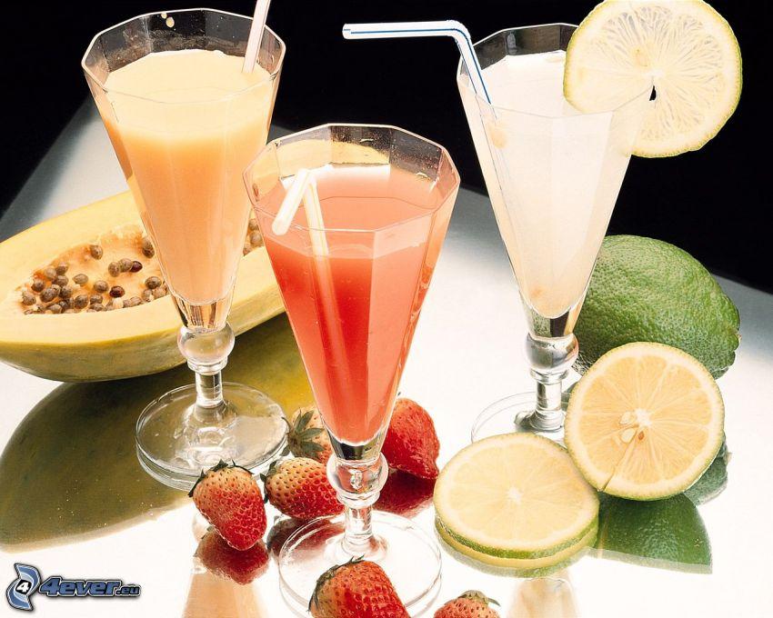 succhi di frutta, lime, fragole, melone giallo