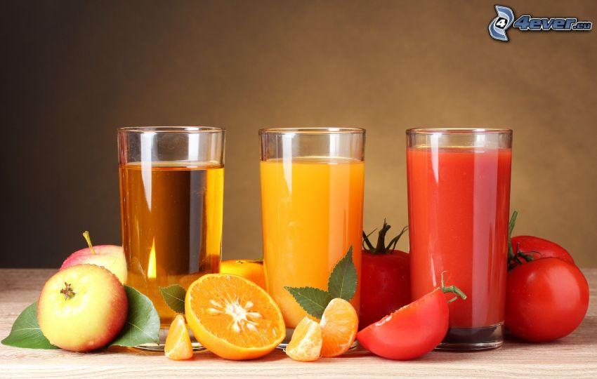 succhi di frutta, mele, arance, pomodori