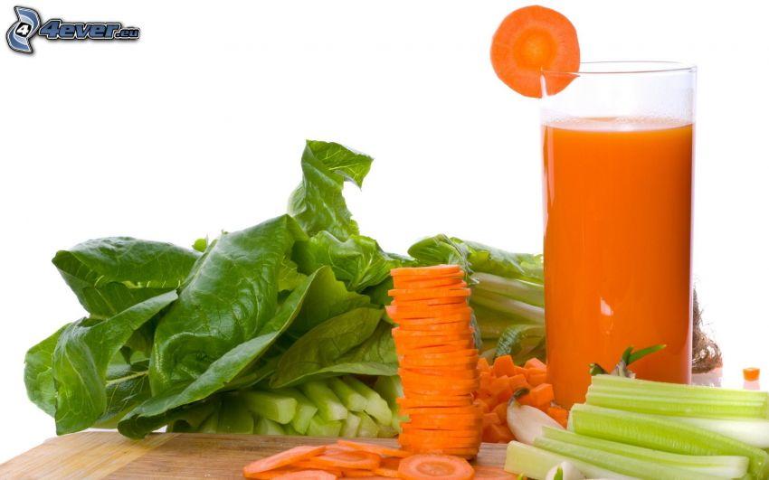 succo di frutta fresca, carote, verdura